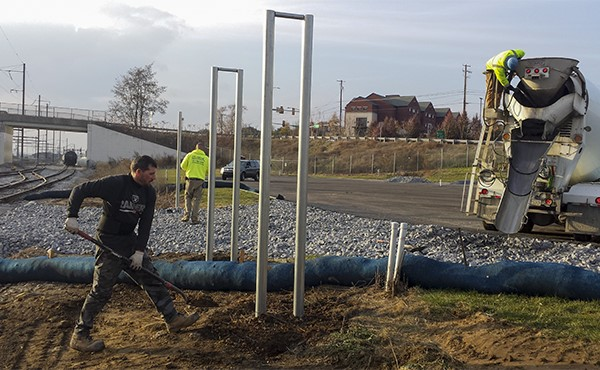 Installing gateposts at M&H RR crossing (November 2019)