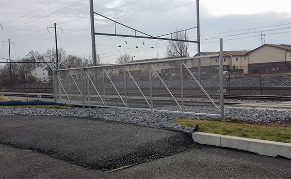 Rolling gate installed at M&H RR at-grade crossing (November 2019)