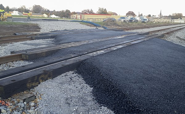 Completed pavement at M&H RR at-grade crossing (November 2019)