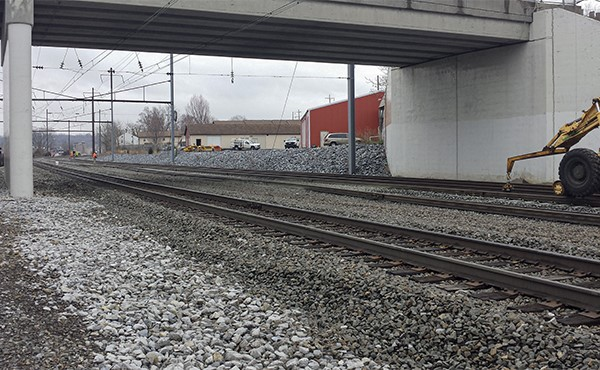 Amtrak rail moved south to accommodate future passenger platform (March 2020)
