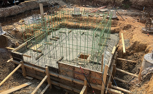 Concrete poured for north tower elevator pit footing (August 2020)