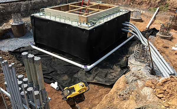 Drainage and conduit at north tower elevator pit (August 2020)