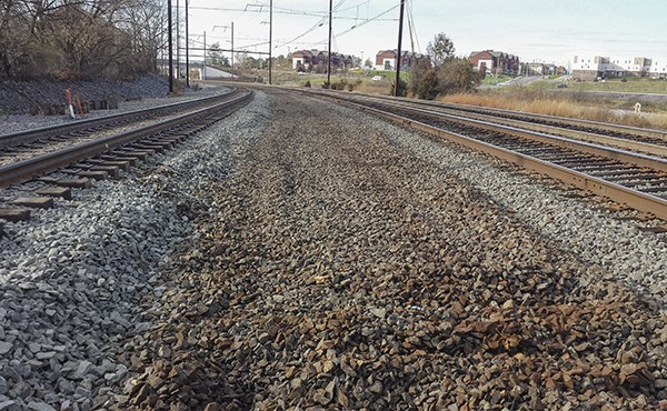 Looking west--old Norfolk Southern track removed (November 2019)