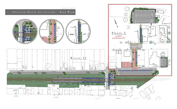 Conceptual site plan, including parking areas and walkways