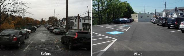 East Henry Street parking lot repaved and restriped
