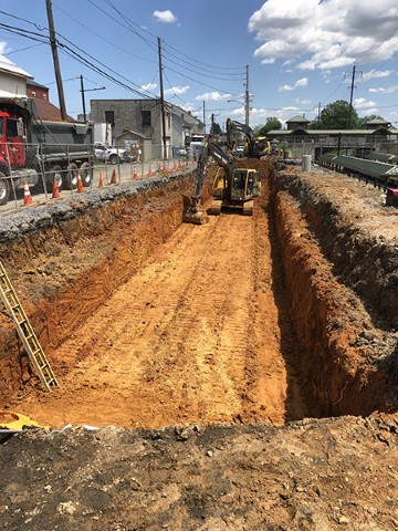 Excavating for stormwater detention system at West Henry Street (May 2019)