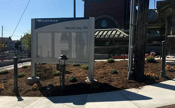 Amtrak sign installed (September 2019)