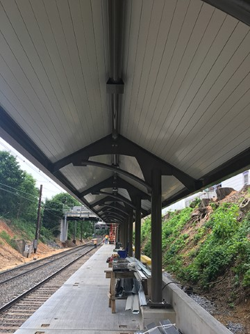 South platform canopy soffit (June 2018)