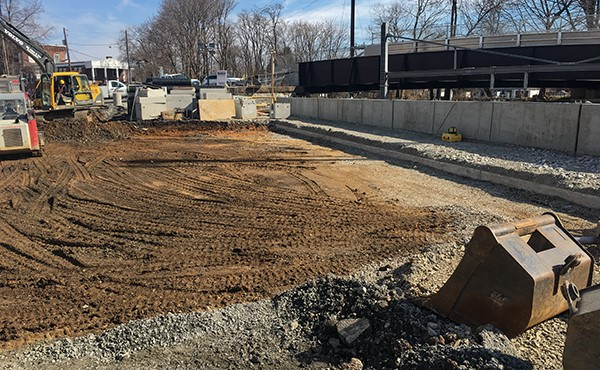 East Henry Street parking lot excavation for station-related stormwater work (Feb 2019)