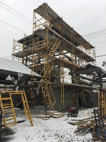 Scaffolding around north tower (January 2019)