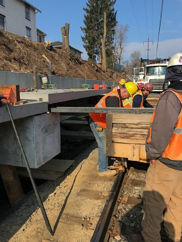 Precast platform panel placement (April 2018)