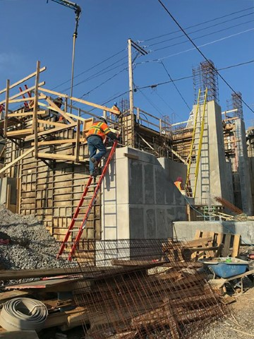 Placing concrete for south tower walls (April 2018)