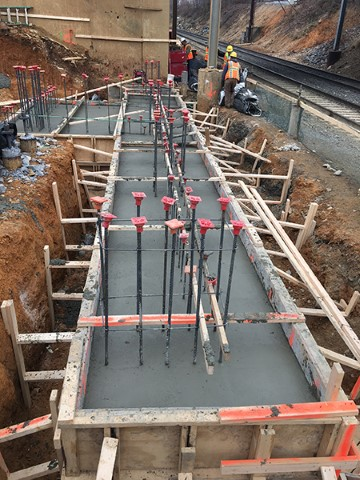 South tower footer and elevator pit poured (December 2017)