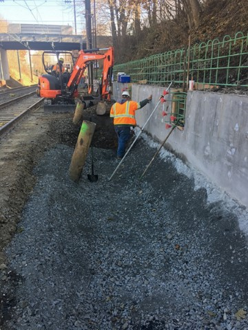 Swale excavation along eastbound platform (Nov 2017)