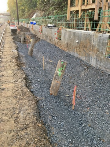 Base course of swale along the south (eastbound) platform (November 2017)