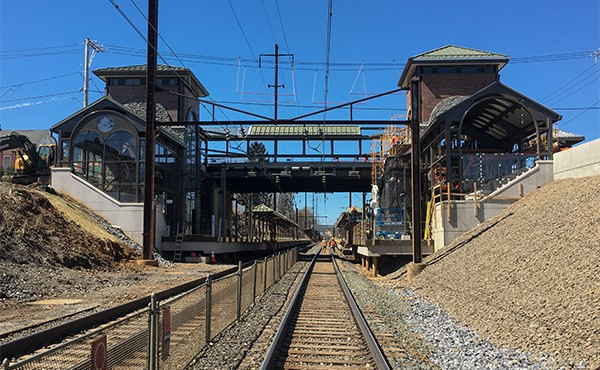 View of both towers from tracks (March 2019)