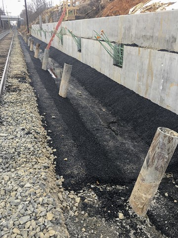 North platform asphalt swale (December 2018)