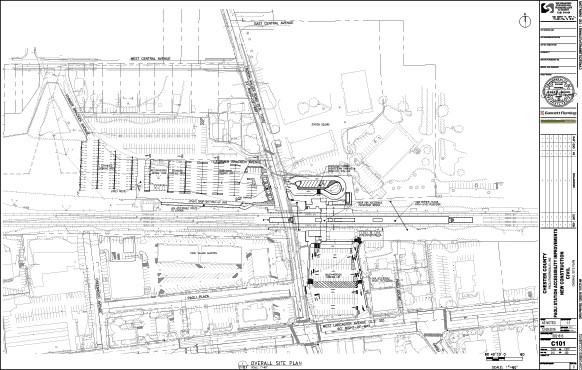 Site plan depicting reconfigured north and northwest parking lots