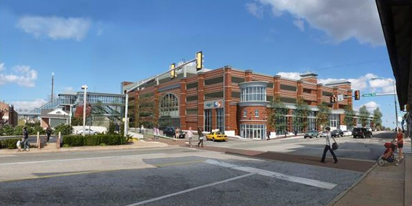 Conceptual rendering of potential intermodal center looking northeast across Lancaster Avenue