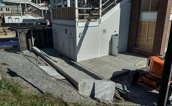 Concrete sidewalk at south tower (October 2018)