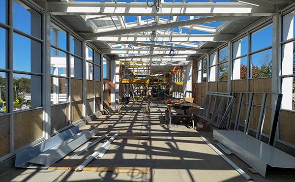 Window installation in pedestrian overpass (October 2018)
