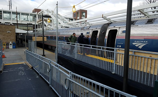 Amtrak's temporary high-level eastbound platform (January 2019)