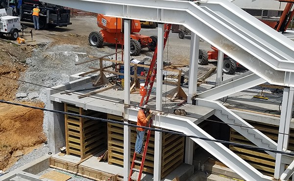 Steel framework for north tower stairs (July 2018)