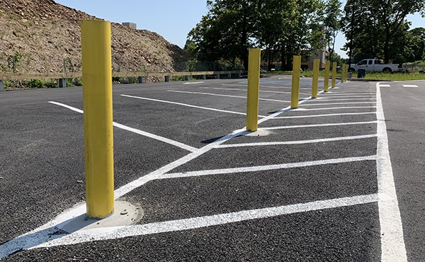 Completed bollards for north lot traffic control (July 2019)