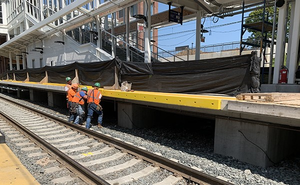 "Installing ""rub rail"" along center platform (July 2019)"
