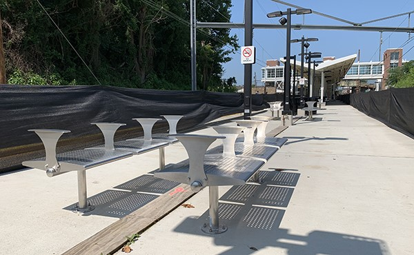 Benches installed along center platform (July 2019)