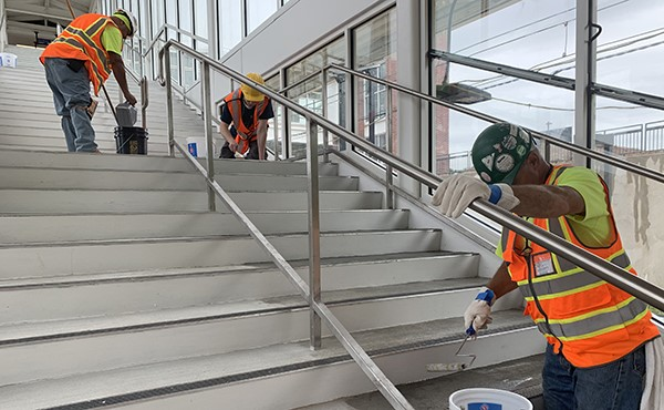 Sealing concrete on stairs to central platform (August 2019)