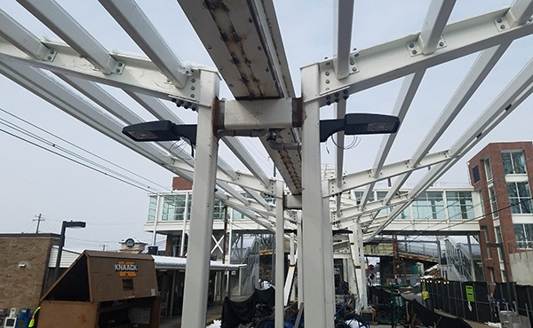 Light fixtures under center platform canopy framework (March 2019)