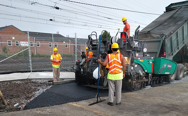 Placing porous pavement along new jitney route (July 2017)