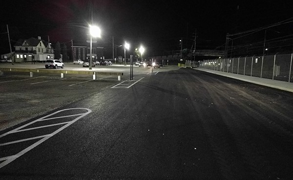 Completed jitney route paving and striping in northwest lot (July 2017)