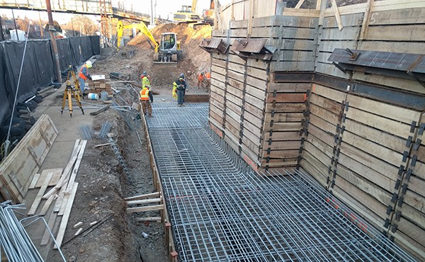 Formwork and rebar for north tower foundation (December 2017)