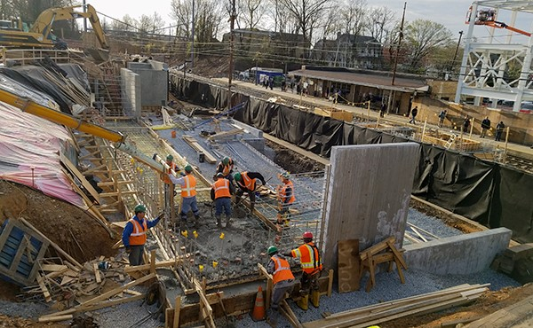 Pouring concrete for north tower slab (April 2018)