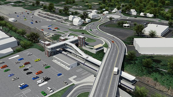 Rendering of Phase 2 roadway improvements looking northwest