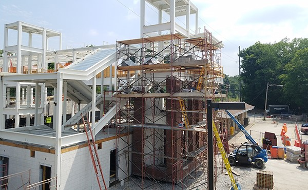 South tower masonry work continues (July 2018)