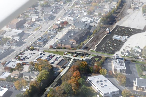 Bird's eye rendering of Phase 1 improvements, looking west