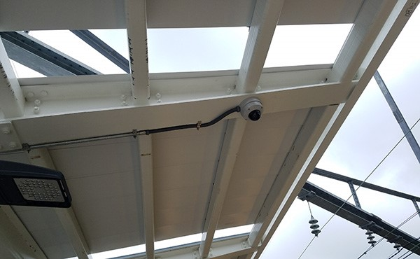Center platform canopy roof panels and CCTV camera (May 2019)