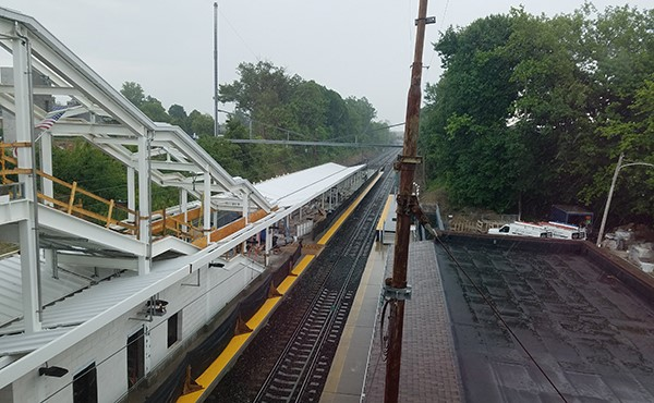 Roof panels installed for center platform canopy (May 2019)