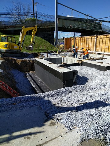 Backfilling waterproofed south tower foundation (October 2017)