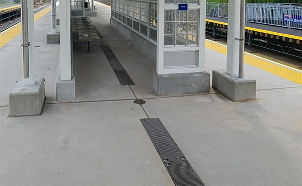 Trench drains on center platform (August 2019)
