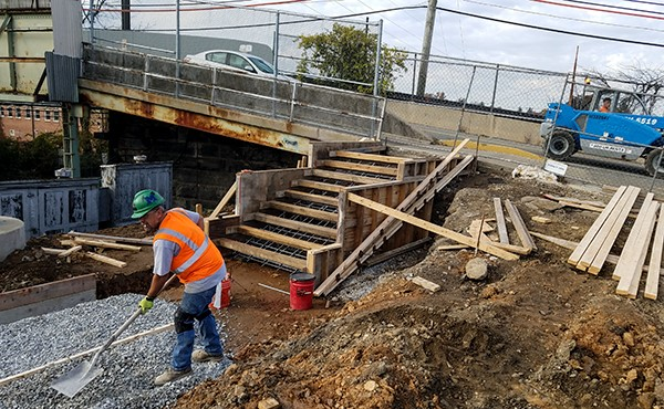 Formwork for stairs to North Valley Road in north lot (November 2018)