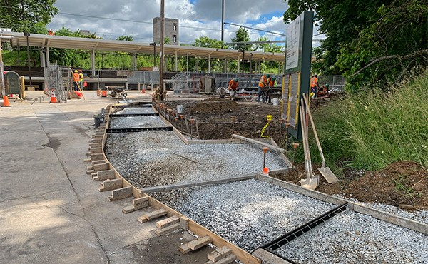 Formwork and subbase for south lot sidewalk (June 2019)