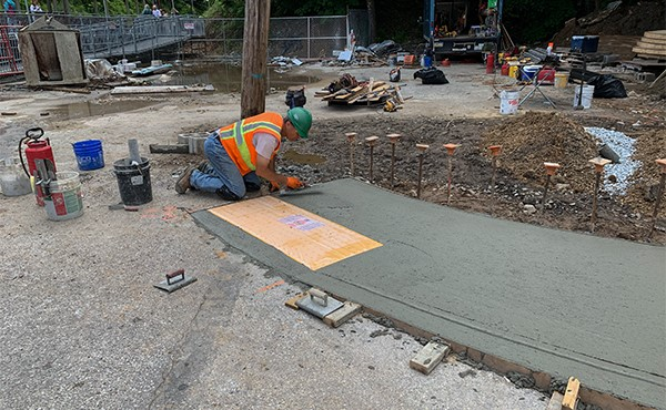 Finishing accessible sidewalk ramp (June 2019)