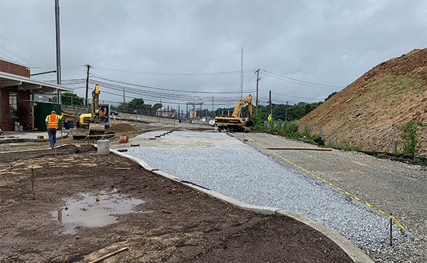 Compacting subbase at north lot (June 2019)