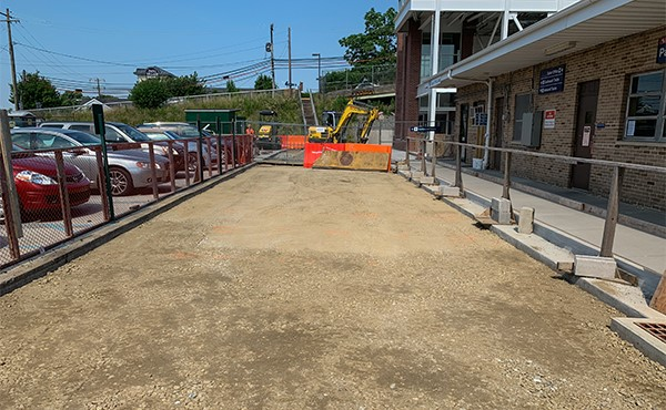 South lot at existing station building ready for paving (June 2019)
