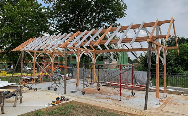 Historic bicycle canopy being re-installed at north lot (August 2019)
