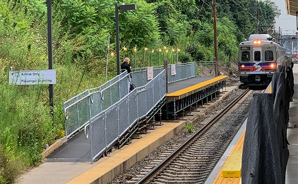 Temporary westbound ADA ramp and platform (August 2019)